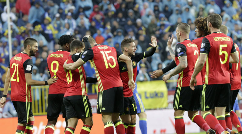 Belgium's Dries Mertens, centre, celebrate a goal during the World Cup Group H qualifying soccer match between Bosnia and Belgium at the Grbavica stadium in Sarajevo, Bosnia, Saturday, Oct. 7, 2017. (AP Photo/Amel Emric)